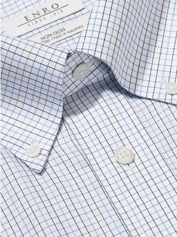 ENRO derss shirts. Make it Personal with a monogrammed non-iron Big&Tall-Tattersall Dress Shirt With Button Down Collar #menswear #enroshirts