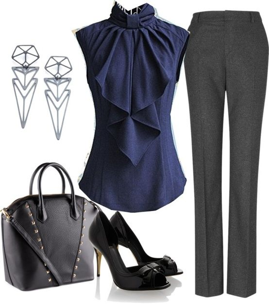Statement Blouse in Conservative Color + Slim Trousers. The stylish detail in this stunning blouse allows you to stand out while maintaining a neutral color palette. The architectural earrings are striking without being too flashy. *** Give stunning presentations that impress clients, bosses, and co-workers with HugSpeak's customized presentation coaching and slide prep. www.HugSpeak.com ***