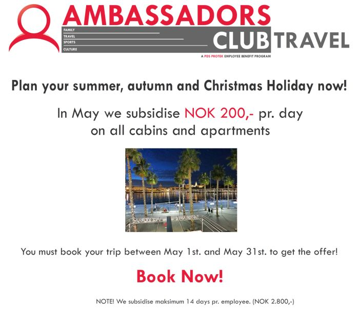We subsidise all cabins and apartments when booking in May.