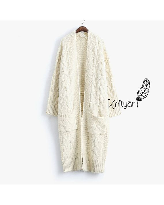WHITE KNIT CARDIGAN Mohair Long Sweater  Ivory gift by Knityar
