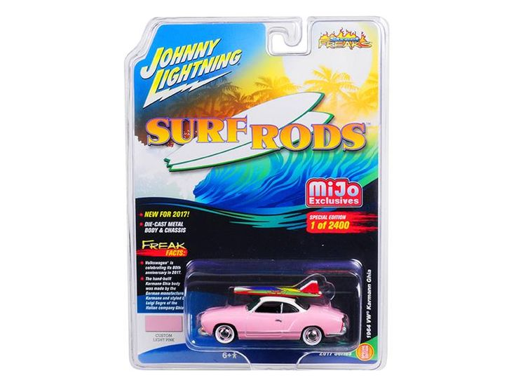"""1964 Volkswagen Karmann Ghia Custom Light Pink Limited Edition to 2400pc Worldwide \Surf Rods\"""" 1/64 Diecast Model Car by Johnny Lightning"""""""
