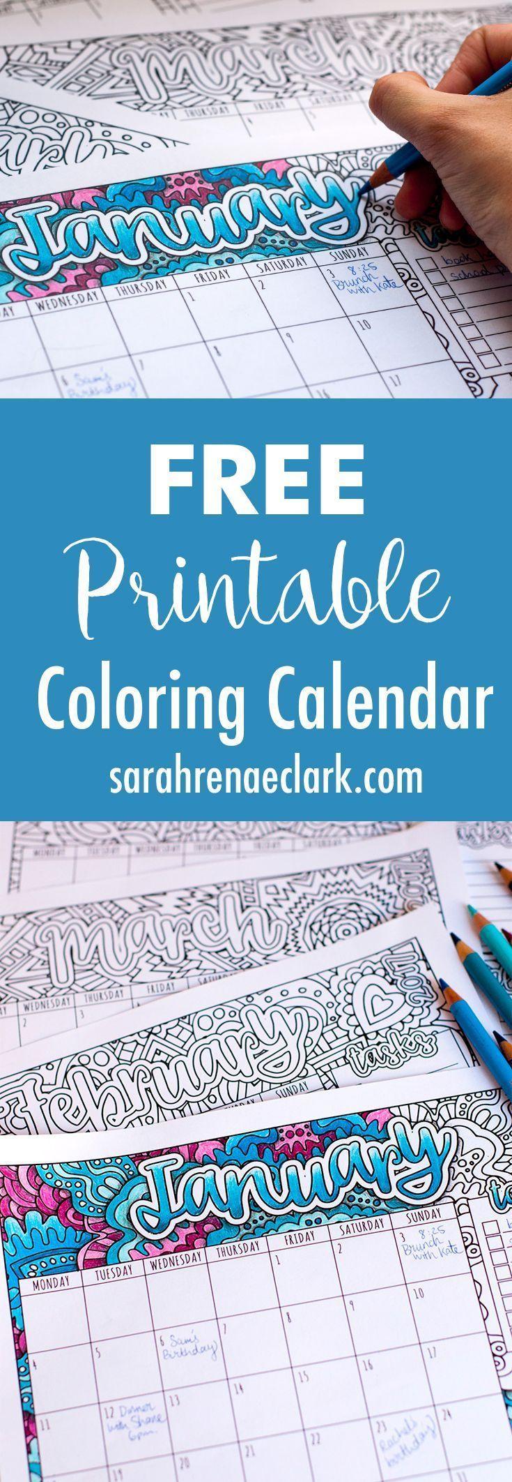 Free Printable Coloring Calendar with BONUS tutorial on how to create shadows wi...