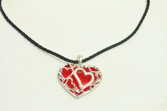 Valentine Gift Pendant Necklace Crystal Pendant Red Enamel