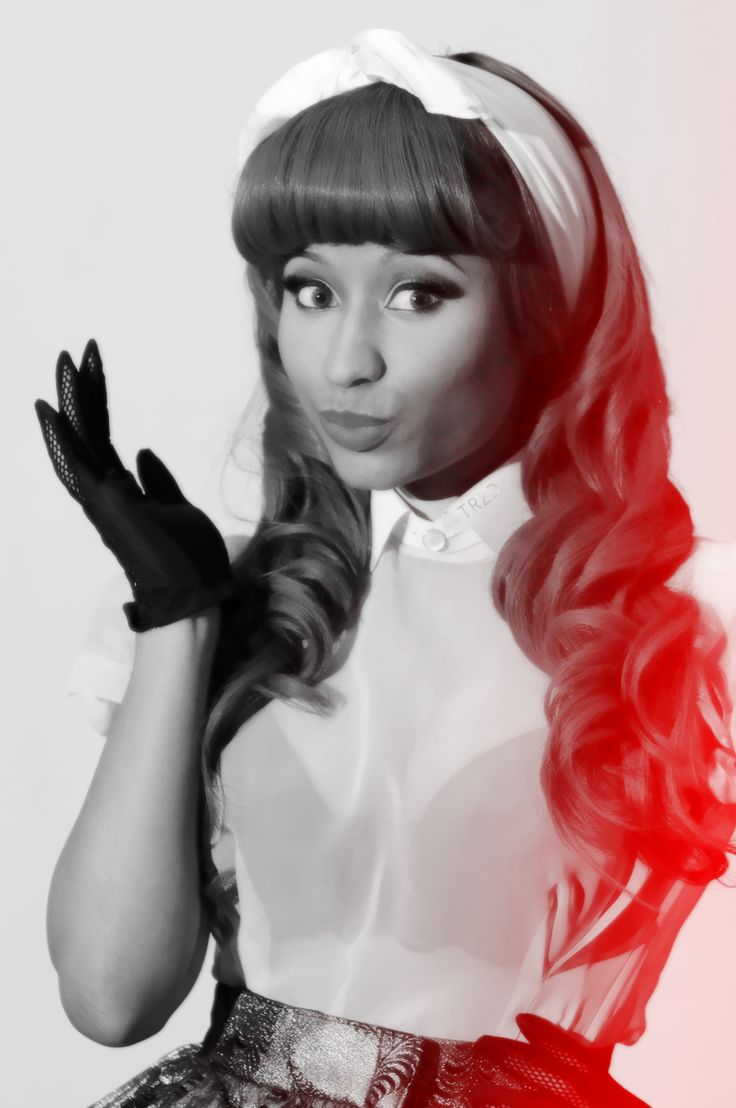 Nicki Minaj rocking an old-school pin-up look! Love the hair! Come Get In The MYX with Nicki Minaj at MYXFusions.com