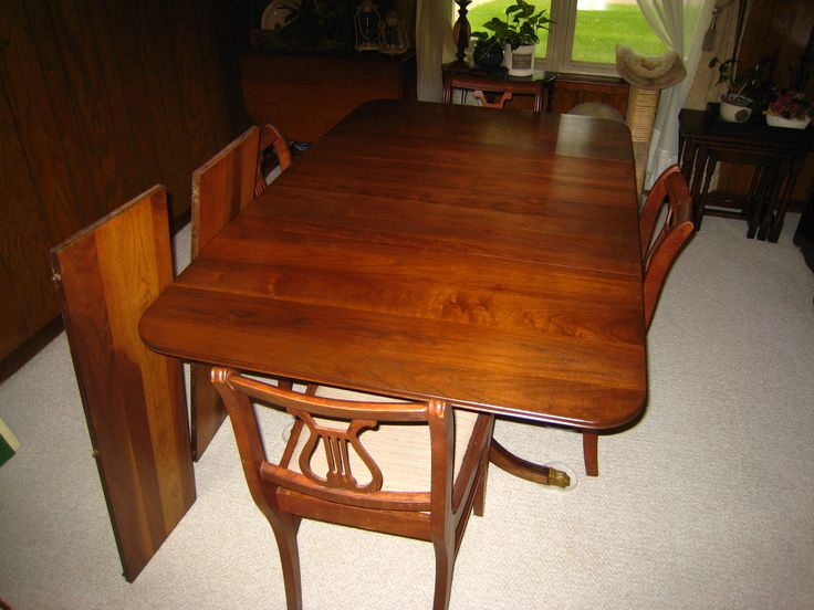 Banded Mahogany Duncan Phyfe Style Dining Table W Brass