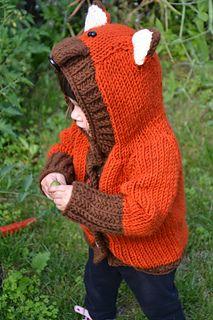 fox toddler sweater.  bulky yarn.  kasia smolak.  ravelry.