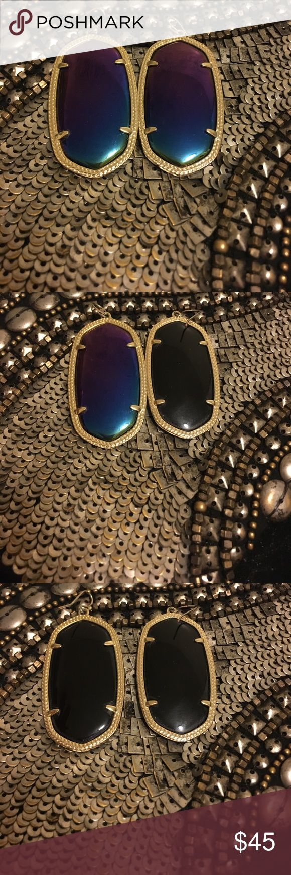 Kendra Scott Iridescent Danielle Earrings Beautiful iridescent Kendra Scott Danielle earrings in EUC! They're a gorgeous iridescent purple/green/blue on one side and black on the other. Kendra Scott Jewelry Earrings