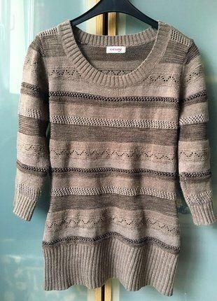 Kup mój przedmiot na #vintedpl http://www.vinted.pl/damska-odziez/swetry-z-dzianiny/15550933-brazowy-azurowy-sweterek-orsay-sweter-z-warkoczami-cieply-basic