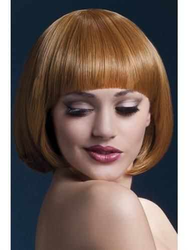 Auburn short bob with fringe. Heated styling tool compatible. Heat resistant up to 120 degrees celcius to 248 degrees fahrenheit. Fully adjustable wig cap for s