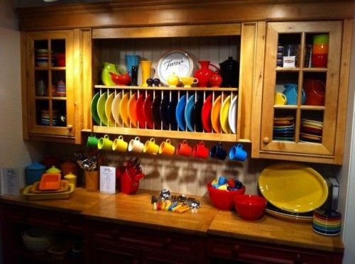 THIS IS AWESOME...I would love to be able to display my Fiesta ware like this. I will have to remember this if we ever remodel our kitchen!!