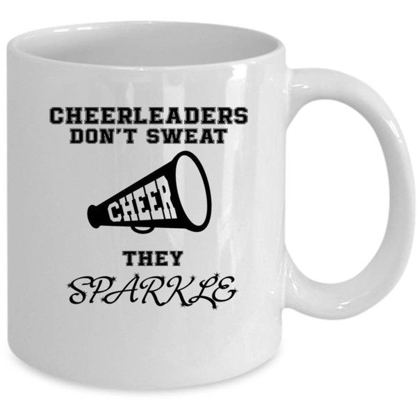 Cheerleader White Coffee Mug Funny Cheerleader Gift (33 BRL) ❤ liked on Polyvore featuring home, kitchen & dining, drinkware, drink & barware, home & living, mugs, silver, quote coffee mugs, quote mugs and white coffee mugs