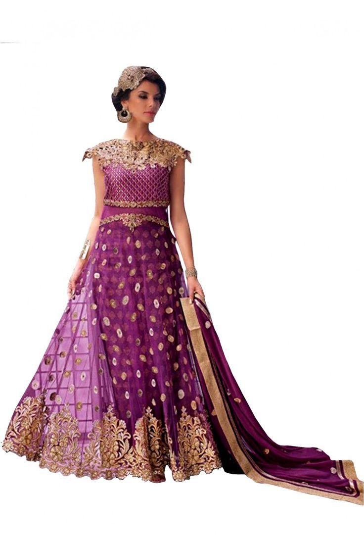 Designer salwar kameez mesmeric peach color net designer suit - Net Party Wear Anarkali Suit In Purple Colour Designer Wearanarkali Suitssalwar Kameezethnicparty Wear