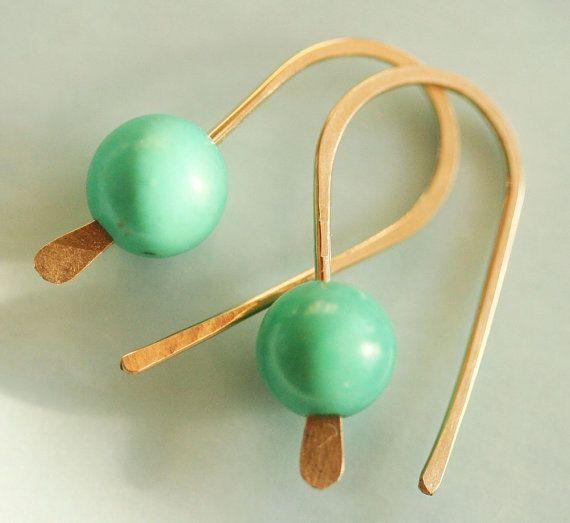 Turquoise Earrings,14 Karat Gold Filled Earrings  Open Earrings , Everyday Earrings, Small Turquoise Earrings