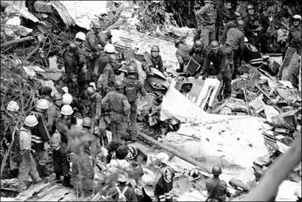 August 12, 1985.  Japan Airline Flight 123.  Domestic flight between Tokyo and Osaka.  It crashed into two ridges of Mount Takamagahara in Ueno, Gunma Prefecture, 100 kilometers from Tokyo. The crash site was on Osutaka Ridge, near Mount Osutaka. There were 4 survivors out of a total of 524 passengers and crew.