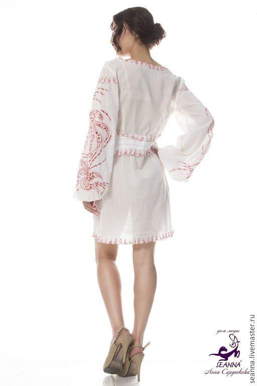 Блузки ручной работы. Роскошная туника-платье вышитая из батиста