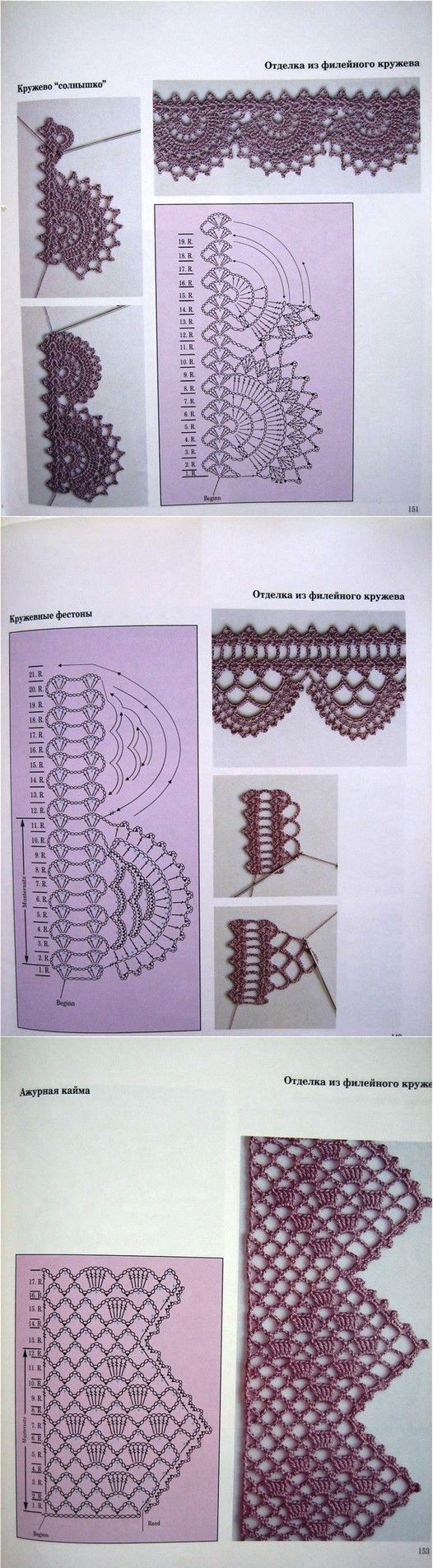 really nice crochet edgings...not as hard as it looks as it's done sideways  Puntillas de ganchillo: