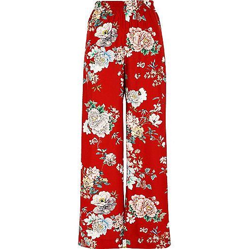 Rode gebloemde broek met wijde pijpen en hoge taille - broeken met wijde pijpen - broeken - dames