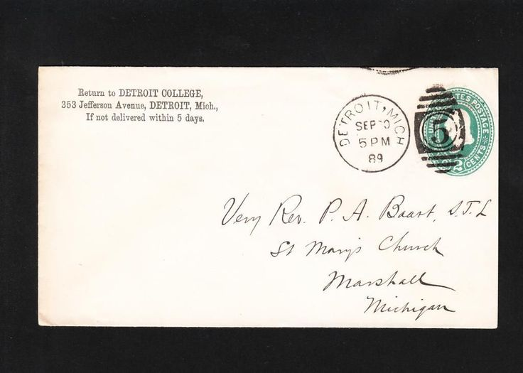 A envelope post-marked September 1889 from Detroit College addressed to the Reverend Peter A. Baart at Saint Mary's Church (Marshall, MI).