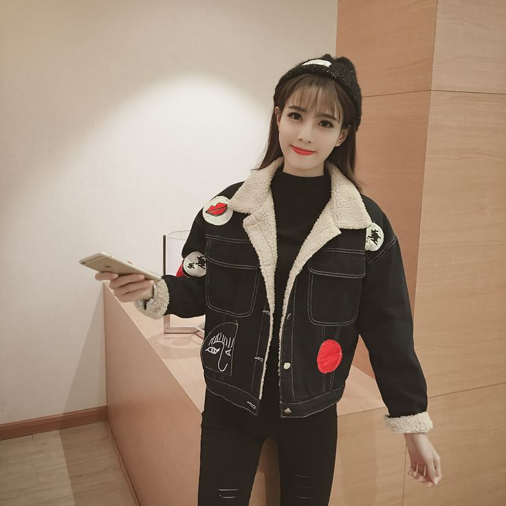 Women Patch Lamb Wool Denim Clothing Loose Thick Jacket