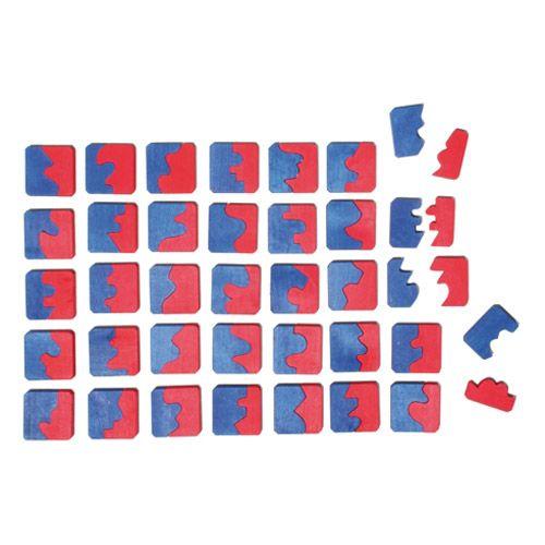 [Grimm's Spiel & Holz Design グリムス社]マッチングタイル 72P ドイツ・グリムス社の赤と青のピースの形合わせパズルです。凸面と凹面を組み合わせて、四角形を作りましょう!