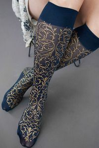 Russian Imperial Trouser Socks - Inspired by the jeweled eggs created by the House of Fabergé, beautiful scrolling arabesques wrap…