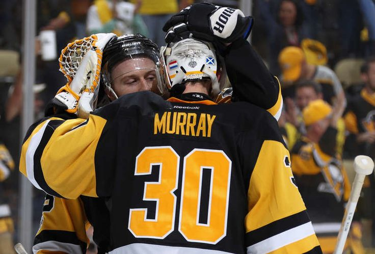 PITTSBURGH, PA - MAY 31: Ian Cole #28 of the Pittsburgh Penguins congratulates goaltender Matt Murray #30 after they defeated the Nashville Predators 4-1 in Game Two of the 2017 NHL Stanley Cup Final at PPG Paints Arena on May 31, 2017 in Pittsburgh, Pennslyvannia. The Penguins lead the series 2-0. (Photo by Dave Sandford/NHLI via Getty Images)