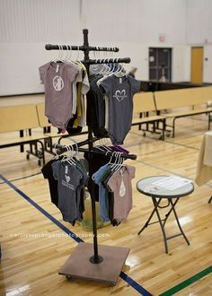 Make a portable, functional, display rack for clothing or other hanging items.