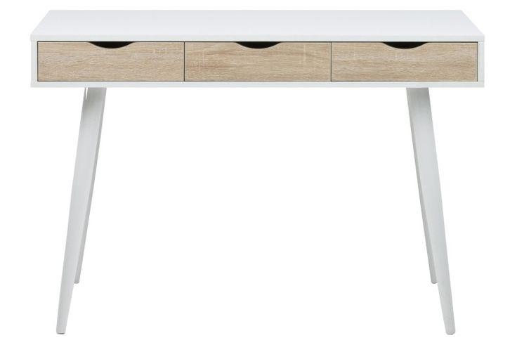Netop skrivebord med skuffer i hvid og eg