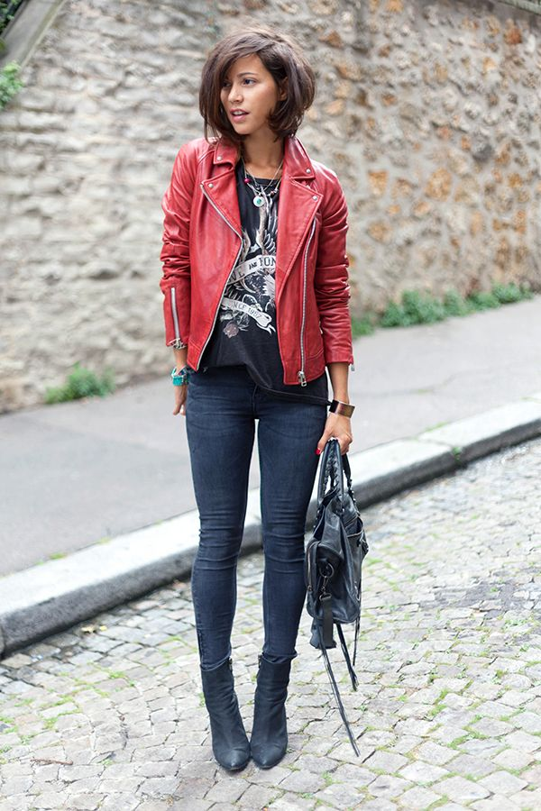 Dark skinnies, red leather jacket and a black graphic tee with some ethnic jewels