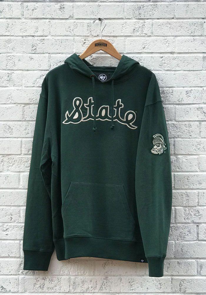 c6ee25046759 '47 Michigan State Spartans Mens Green Striker Fashion Hood, Green, 100%  COTTON, Size M