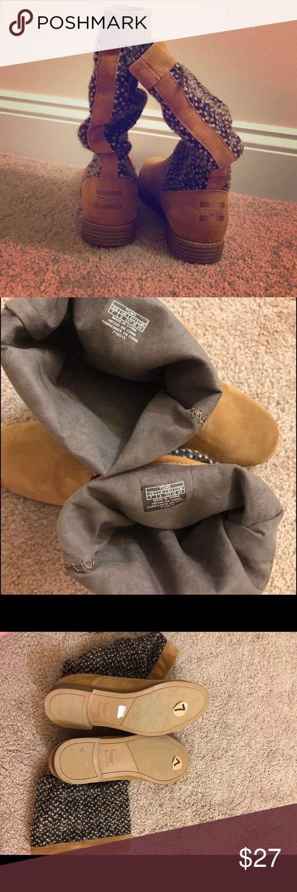 Toms boots tan. Suede textile mix Toms boots. Like new. Check base of the boots to see the slight scruffs. TOMS Shoes Winter & Rain Boots