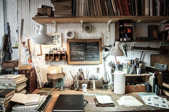 Oliver Jeffers' work space http://www.theimagista.com/stories/the-art-of-authenticity/