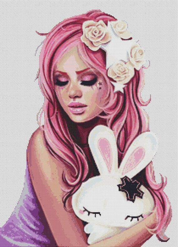 0 point de croix moderne fille cheveux roses et son lapin - cross stitch pink haired girl and her bunny