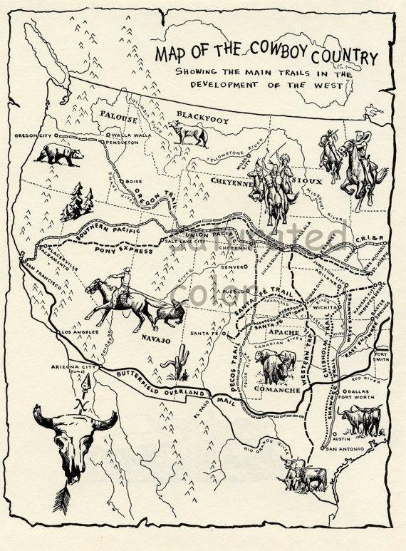 Vintage Cowboy Trails Map with Indian Territories - Original 1950 children's…