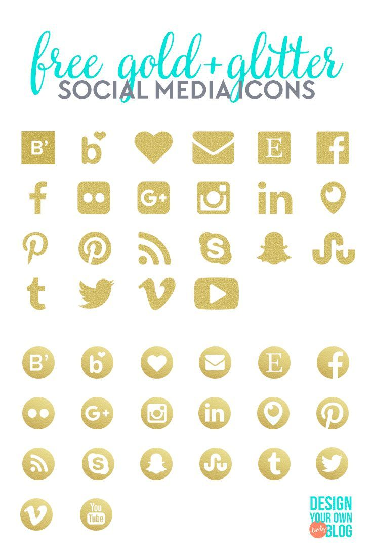 Download These Free Gold And Glitter Social Media Icons At  Designyourownblog!