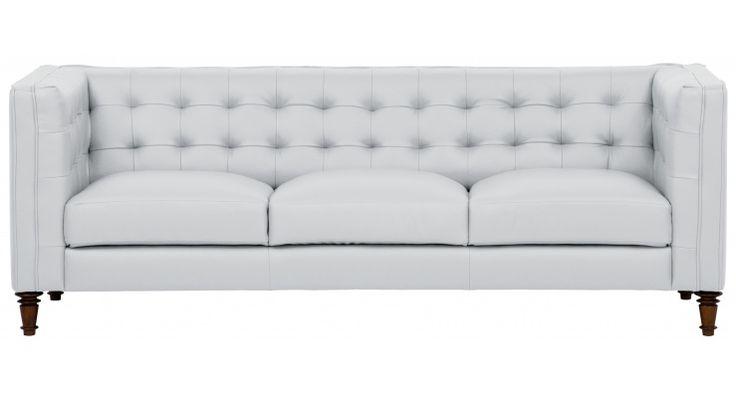 Ohh i'm in LOVE... hab mein Traum-Sofa gefunden!! 3er-Sofa BUCKINGHAM aus Semi-Anilin-Leder H75xSH48xB213xT93cm in hellgrau (1.199,00 EUR) | FashionForHome.de