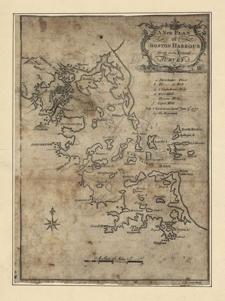 1775 Boston Harbor plans MAP Massachusetts antique
