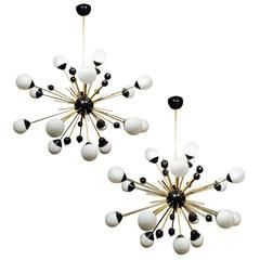 Pair of Frosted Globes Sputnik Chandeliers