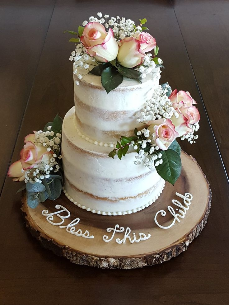 Naked Cake With Fresh Flowers, First Communion Or Baptism -5180