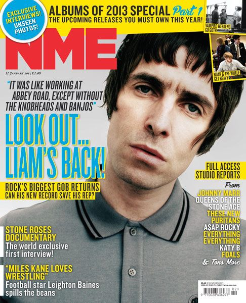 NME Magazine cover, Liam Gallagher, January 12th 2013