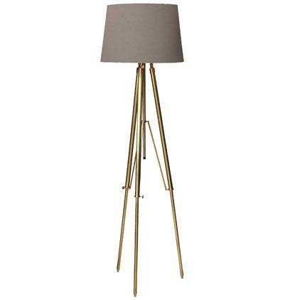 OkaDirect Brass Tripod Lamp with Cotton Lampshade