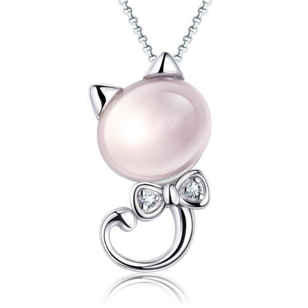 New Silver Plated Animal Kitten Pendant Necklaces Female Natural Stone Pink Crystal Chain Necklace Cat Jewelry - Cat Lover Jewelry - Accessories & Products for Cats and like OMG! get some yourself some pawtastic adorable cat apparel!