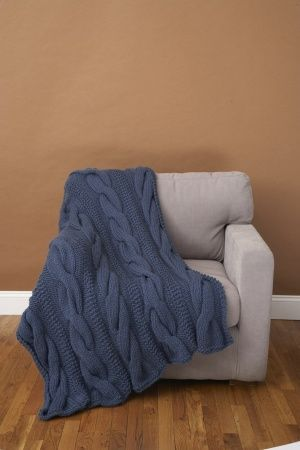 Free Knitting Pattern 70071AD Cable Comfort Throw : Lion Brand Yarn Company Patrick is in need for a new throw this looks like it will do the trick for him