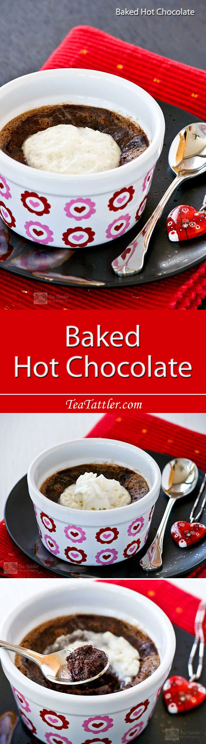 Baked Hot Chocolate - a warm and delicious flourless pudding-like dessert that uses only 4 ingredients. Especially satisfying on a cold day! | TeaTattler.com
