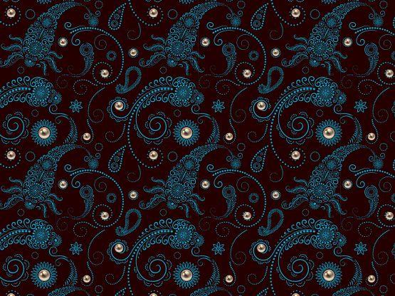 """Japano-paisley IV"" by momotaro Eonscintilla, Japan-inspired palette, bone, cream, dark tea, lily, onion blue"