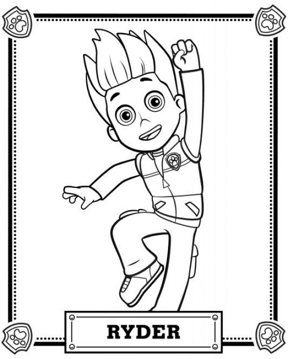ryder the leader from paw patrol coloring page for kids