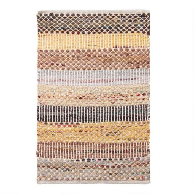 Handwoven Of 100 Recycled Fabric Our Exclusive Chindi Area Rug Offers A Brilliant Texture With A Chic Wide Str World Market Rug Small Space Rugs World Market