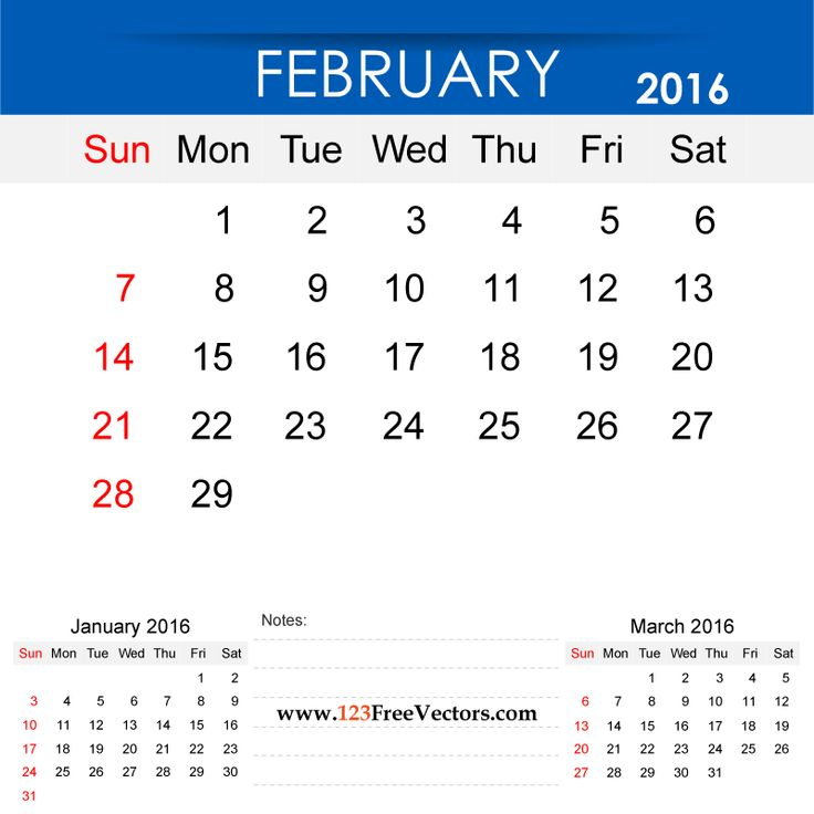 Free Download February 2016 Calendar Printable Template Vector Illustration. Can be used for business, corporate office, education, home etc.Free Editable Monthly Calendar February 2016 available in Adobe Illustrator Ai