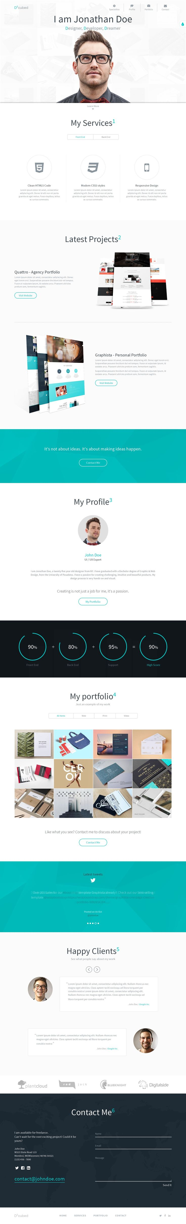 D-cubed is a modern #onepage personal #portfolio template. It is the perfect solution for Web Designers, Graphic Designers and any kind of creative people. D-cubed is built on #Bootstrap v3.3.2 and packed with great features. Download Now➝  https://wrapbootstrap.com/theme/d-cubed-modern-personal-portfolio-WB08LL3NM?ref=datasata