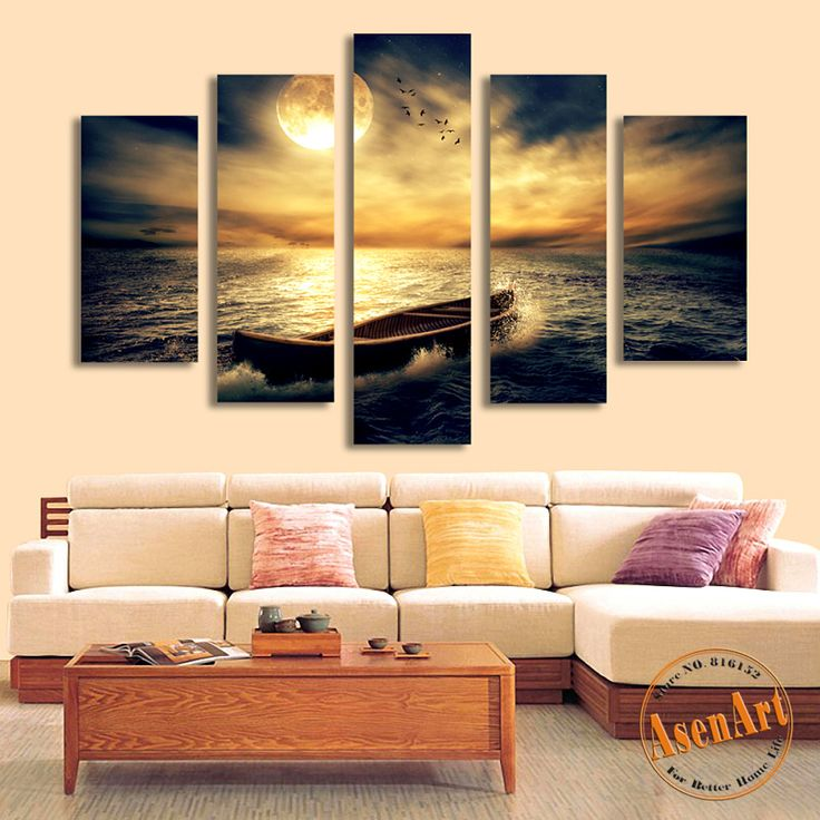 Aliexpress.com : Buy 5 Panel Sunset Seascape Painting Single Boat Picture for Living Room Home Decor Wall Art Canvas Prints Artwork Unframed from Reliable boat rubber suppliers on AsenArt